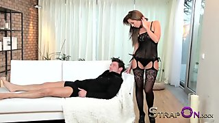 StrapOn Brunette babe pegging her boyfriends ass