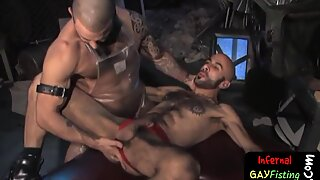 Horny hairy stud gets fisted deep