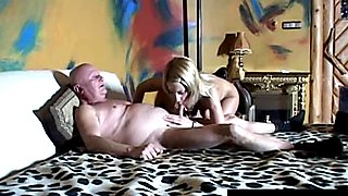 Young blonde slut and a horny old guy get nasty
