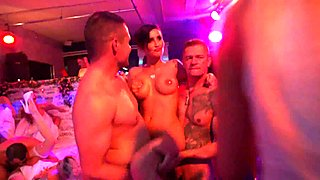Sexy bitches gets fucked in public at sex party