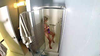 Sexy after gangbang shower with blonde