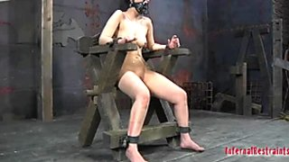 Sitting on the wooden chair tied up hooker Marina moans