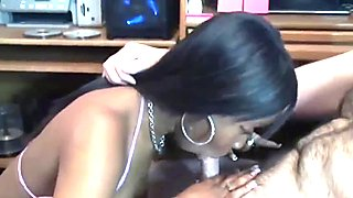 Black coed Mercy Starr swallows a dick