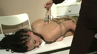 Slut Mandy Bright torments this tied up fuck slut