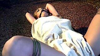 Izzy Delphine bound ballgagged vibed dildoed