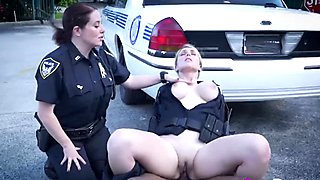 Two busty female slutty cops enjoyed BBC of their suspect