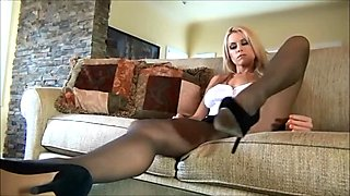 Randy Moore in pantyhose shows off her feet and body