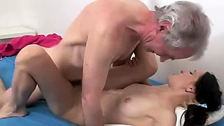 Young pussy milks the old man dick of a load