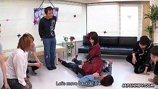 Japanese chick, Ruri Narumiya facesits guys, uncensored