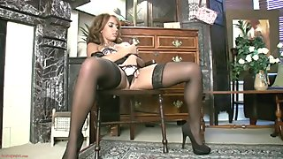 Solo Performance By Hot Babe In Stockings And Corset