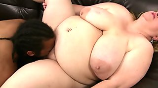 Heavy boobs fatty rides black dick