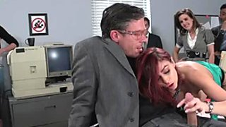 Ginger busty secretary blows sweet cock of her mature boss in 69 pose