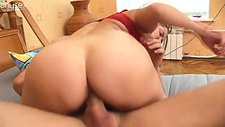 Chubby brunette chick with pigtails got her vagina banged in sideways pose hard