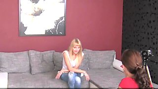 StrapOn Hot blonde rides a strapon cock on the casting sofa