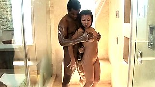 Huge black dude likes to play with cute tits of Jackie Lin