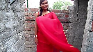 Hottest Bhabhi Sari in a sexy style,Red Color Saree Act