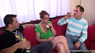 Party threesome with old woman