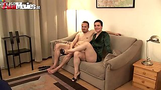 Dirty slut sucks small dick and gets fucked on a couch