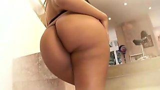 Ebony bootylicious brunette in gstring gets nailed hardcore