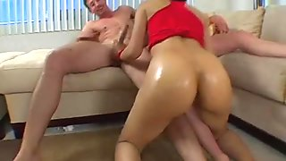Macho seduces two raunchy chicks to 3some sex