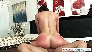 Full natural chick with juicy ass gives her head and rides pole face to face