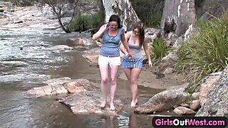 Girls Out West - Amateur lesbians playing by the river