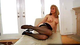 Sexually Excited older granny Nina Hartley masturbating