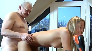 Old man fucks his young and silly cleaning lady