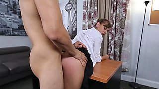 Dakota completing her task while being spanked on her ass