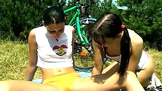 Two steamy brunette teens eating wet pussy dry having passionate teen lesbian sex outdoor
