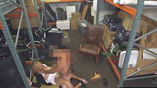 Hot blonde MILF banged in storage room by nasty pawn guy