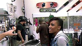 Ebony pawnshop amateur giving head for money