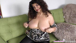 Big funbags mature lady lubing up her goods