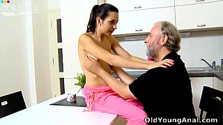 Slim and sexy Euro babe Lora gets her pussy eaten out in the morning