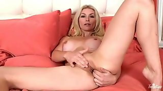 Busty pale blonde with huge tits fingers her slippery copher