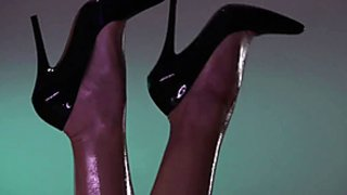 Oiled lesbian massage in high heels