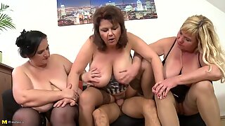 Three mature busty moms VS One young son
