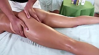 Hungry for cock Jacky Joy sucks the dick of her masseur