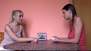 Girlfriends Hot lesbians play cards before getting a taste of sweet shaved