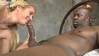 Almost titless blondie desires to suck a tasty long black dick for sperm