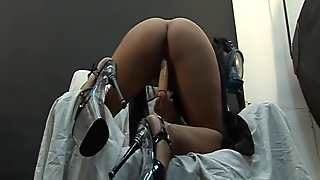 Gas mask Latina plays with big toy - Latin-Hot