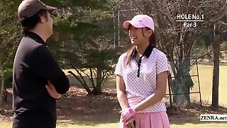 Subtitled uncensored outdoor Japanese golf penalty game HD