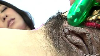 Ishiguro Kyoka gets fucked hard with fancy vibrator up in her hairy twat