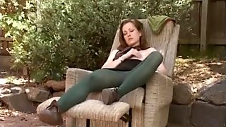 Juicy and to orgasm masturbation in her backyard. hot