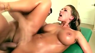 Tanned pornstar gets a deep fucking from masseur
