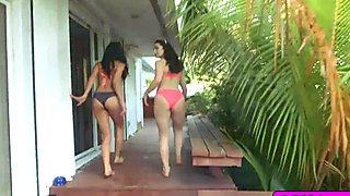 Flirty bikini babes in a hot foursome fuck
