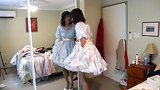 MICHELLE JERKING OFF IN PINK SATIN DRESS Petticoat