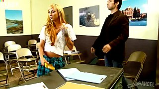 Slutty blond teen sucks big penis of her cute teacher