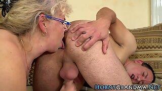 Spex granny mouth jizzed