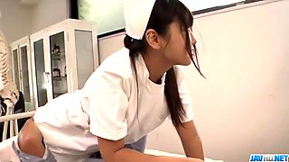 Perfect Asian threesome with curvy ass nurse Yu Shinohara